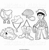 Prospector Cowboy Clip Coloring Template Western Gear Printable Puppet sketch template