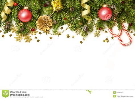 christmas decorations border isolated on white background