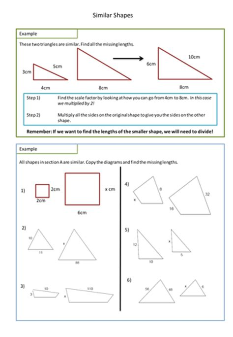 similar shapes worksheet scale factors by adz1991