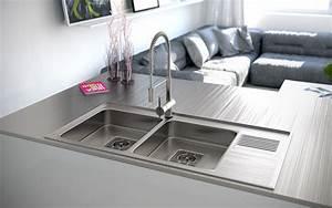 Stainless steel double sink Interior Design Ideas