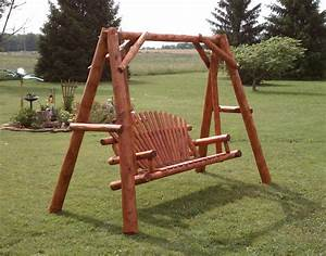 White Cedar Stained Love Seat Swing W Stand