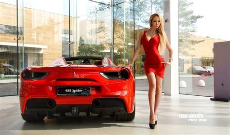wallpaper blonde red dress high heels ferrari long