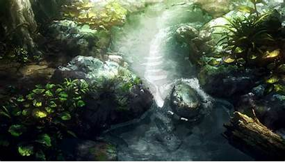 Aesthetic Anime Water Chill Pond Forest Gifs