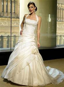 halter top lace wedding dress with chapel train sang maestro With halter top wedding dresses