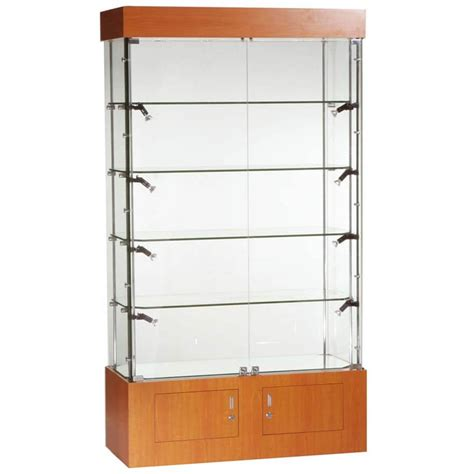 glass display cabinet 1016mm w glass display cabinets with storage led