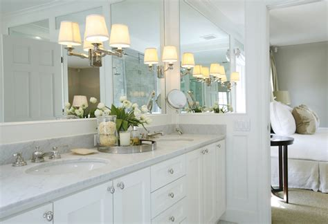 Bathroom Mirror Sconces by Sconces On Mirror Transitional Bathroom
