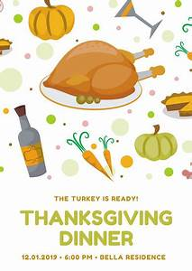 Turkey Illustration Thanksgiving Poster