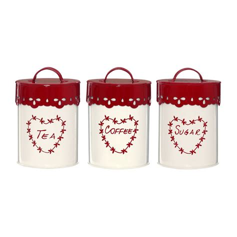 Coffee canisters lengthen your coffee's shelf life, improve its taste, and look great on the counter. Anglaise Tea, Coffee & Sugar Canister Set, Cream/Red - Looknbuy.co.uk