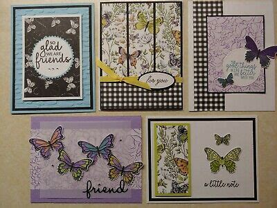 5 HANDMADE GREETING Cards Stampin Up BOTANICAL BUTTERFLY