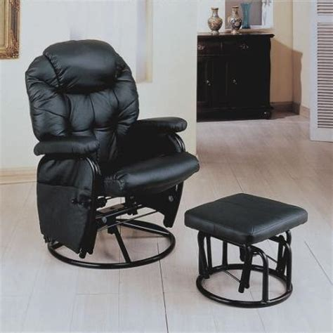 faux leather glider recliner with ottoman buy coaster rimini euro faux leather glider recliner and