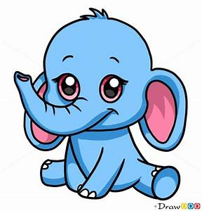 How to Draw Baby Elephant, Cute Anime Animals - How to ...