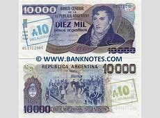 Argentina 10 Australes on 10000 Pesos Argentinos 1985