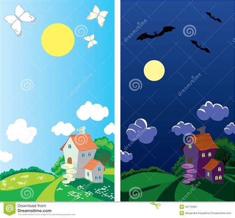 small rural house day  night stock vector image
