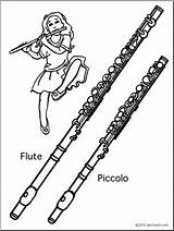 Flute Piccolo Coloring Instrument Abcteach Musical Woodwind Music sketch template