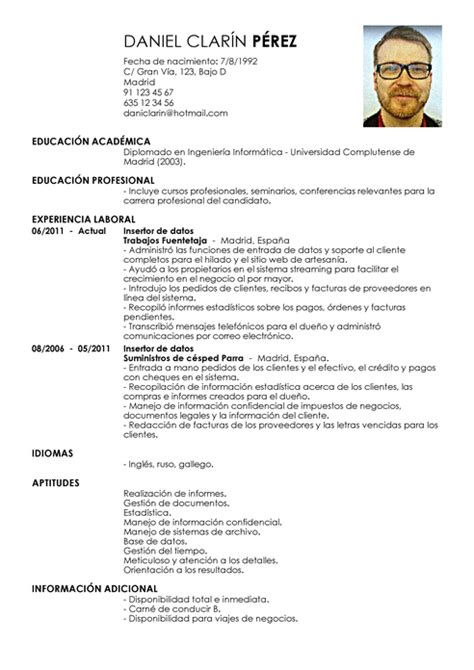 Curriculum Vitae For Data Entry Clerk by Modelo De Curr 237 Culum V 237 Tae Entrada De Datos Entrada De