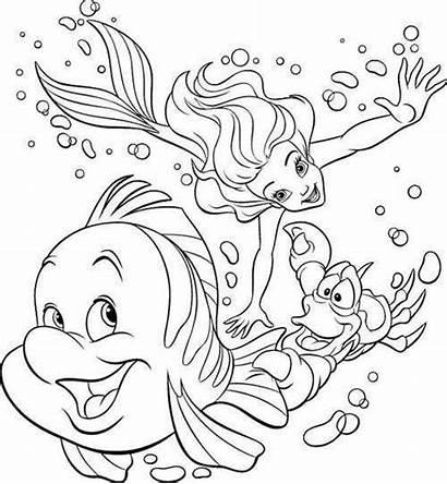 Ariel Coloring Princess Pages Mermaid Disney Colouring