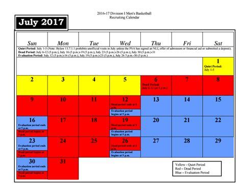 july ncaa basketball recruiting calendar pcbbcom