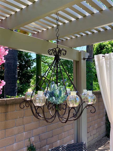 Outdoor Candle Chandeliers Wrought Iron by Wrought Iron Braided Candle Chandelier Outdoor Patio
