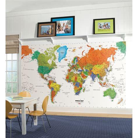 world map prepasted wallpaper mural kids room decor