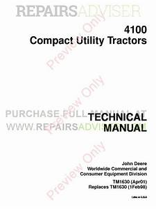 John Deere 4100 Tractor Compact Utility Technical Manual