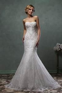 unique strapless detachable skirt mermaid lace wedding With unique lace wedding dresses