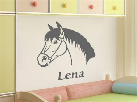 Wandtattoo Kinderzimmer Mädchen Pferde by Kinder Wandtattoo Pferdekopf Mit Wunschname Wandtattoo Net