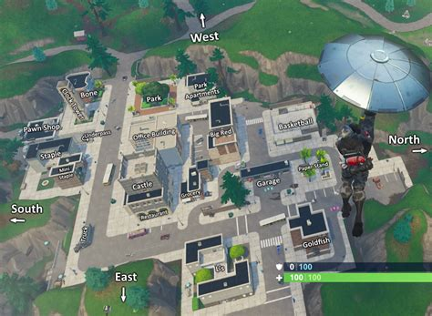 tilted towers labeled building map    land
