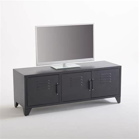 cuisine bois et metal meuble tv style indus 3 portes noir mat hiba noir la