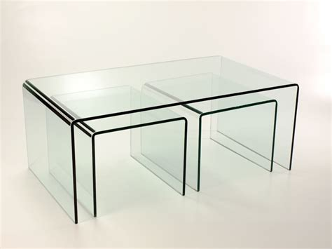 bent glass end table new bent curved glass coffee table 2 side tables nest ebay