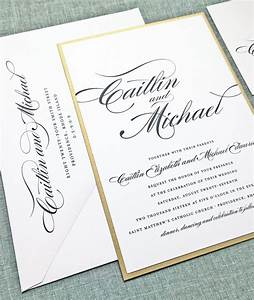 caitlin script metallic gold or silver layered by With samples of silver wedding invitations