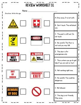 Warning & Safety Signs Worksheets By Miss Lulu Tpt