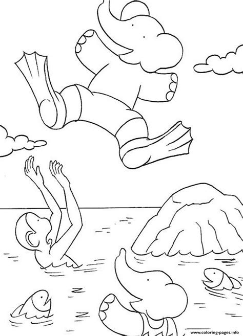 Coloring Pictures by Babar Jumping Into The Sea S For Kids0a60 Coloring