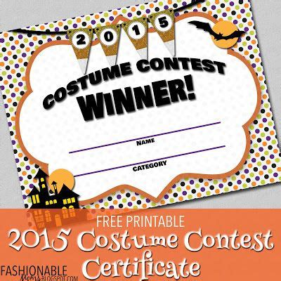 printable costume contest certificate fall