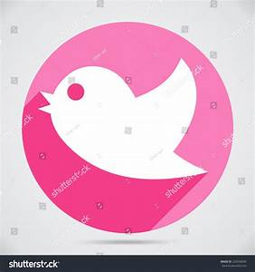 Flying Twitter Bird Icon Isolated Pink Stock Vector ...