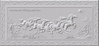 Cnc Stl Wood Carving Horse Obj Ztl