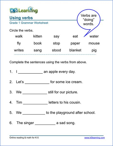 printable verb worksheets from k5learning teaching