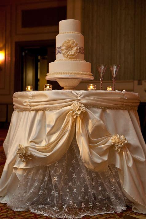 gorgeous cake table linen    resemble