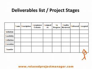 deliverables list project stages With marketing deliverables template