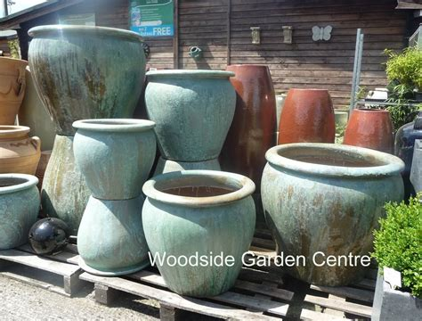 Extra Large Pots And Large Opal Green Glazed Pot Tree