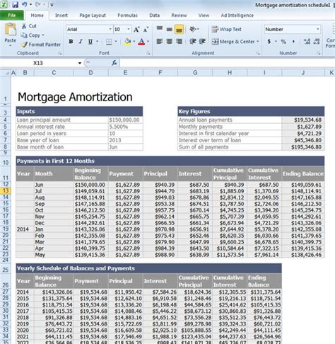 mortgage amortization table excel calculate mortgage loan amortization with an excel template
