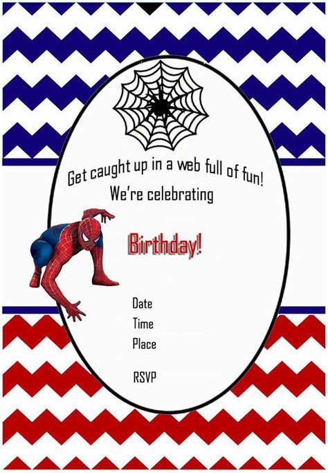 spiderman  printable invitation templates
