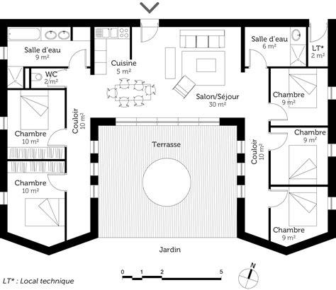 plan maison plain pied 3 chambres plan de maison 5 chambres plain pied
