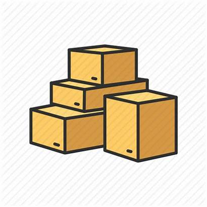 Clipart Boxes Cardboard Pile Stacked Drawing Clip