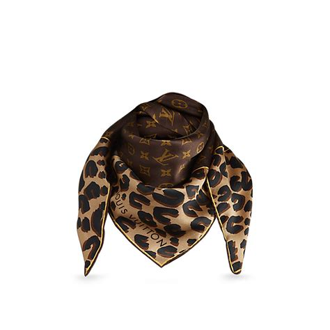 louis vuitton monogram leopard silk scarf limited edition luxity
