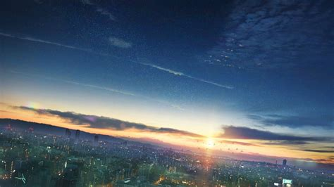 Anime Sunset Wallpaper - anime sunset sky cityscape wallpapers hd desktop and