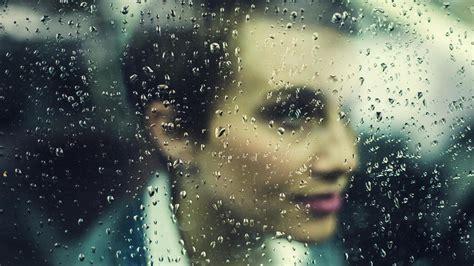 picture rain window person woman beauty face