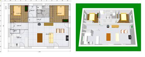 plan de maison 3 chambres salon plan maison 2 chambres 50 plans 3d avec 2