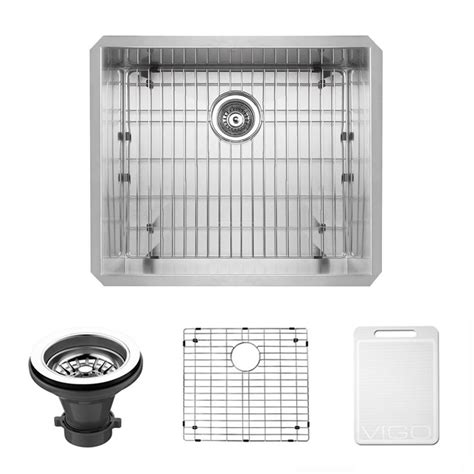 kitchen sink strainer vigo undermount 23 in single bowl kitchen sink with grid 2920