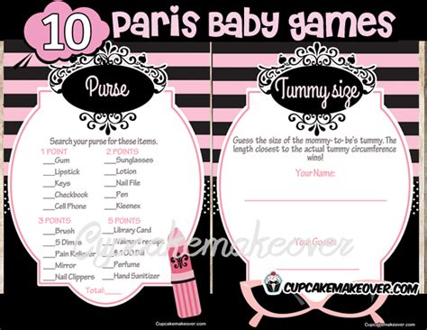paris diva baby shower game package instant