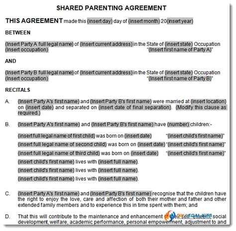 shared parenting plan template child support and parenting plan agreement template